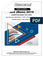 JEE Main 2019 Paper 2 B.Arch Attempt Shift - 2(08th January, 2019)