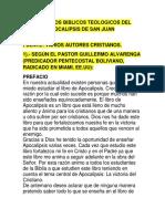 Comentarios Biblicos Teologicos Del Libro de Apocalipsis de San Juan Apostol