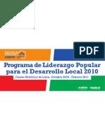 Programa de Formación Liderazgo Popular para el Desarrollo Local 2010 - Banderola