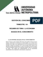 La Economia Basada en El Conocimiento. Ensayo 1