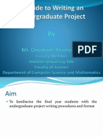 A Guide to Writing an Undergraduate Project