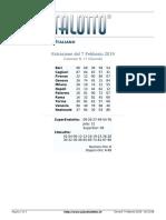 Estrazioni del Lotto Italiano di giovedi 7 Febbraio 2019