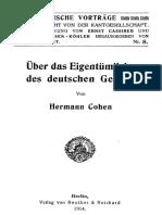 Cohen 1914 – Über Das Eigentümliche Des Deutschen Geistes