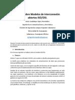 Ensayo Sobre Modelos de Interconexión Abiertos ISO OSI