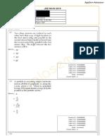 JEE Main 2019 Paper Answer Maths 11-01-2019 2nd