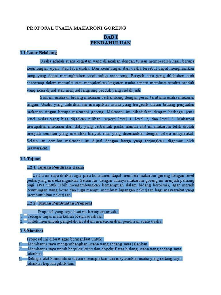 Proposal Usaha Makaroni Goreng