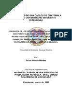Evaluacion de Los Proyectos de Plantaciones y Sistemas Agroforestales