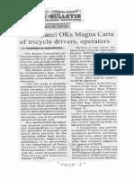Manila Bulletin, Feb. 8, 2019, House panel OKs Magna Carta of tricycle drivers, operators.pdf