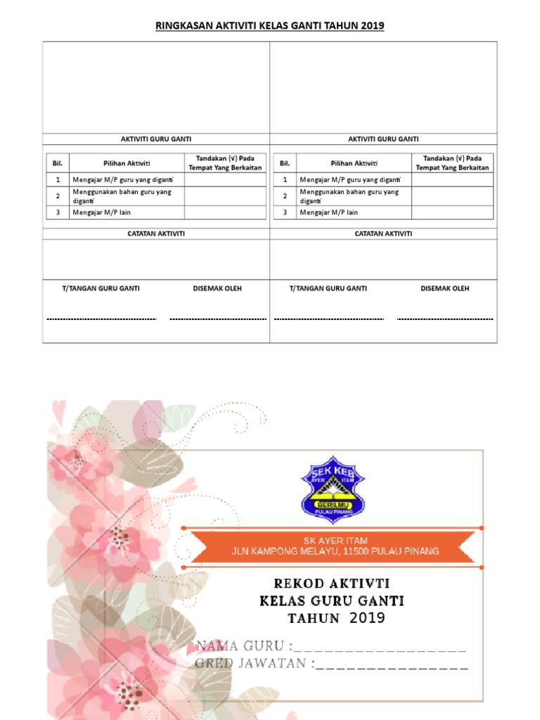 Contoh Borang Guru Ganti