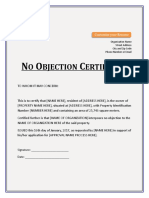 No Objection Certificate Property