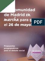 Primeras medidas de Podemos en la Comunidad de Madrid