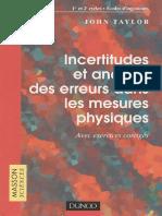 Incertitudes Et Analyse Des Erreurs Dans Les Mesures Physiques