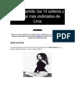 El Gran Partido Los 14 Solteros y Solteras Más Codiciados de Lima - Cosas