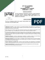 Alhambra City Council agenda - Feb. 11, 2019