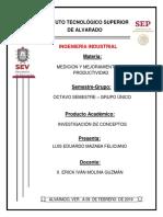 INVESTIGACIÓN UNIDAD 1 MEDICION Y MEJORAMIENTO DE LA PRODUCTIVIDAD
