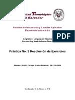 Práctica No. 2 Resolución de Ejercicios