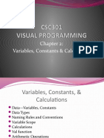CSC301 - 2) Variables Constants & Calculation