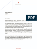 Carta de Ada Colau a Jean-Claude Juncker