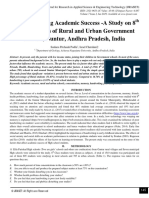 Factors Affecting Academic Success -A Study on 8th Class Students of Rural and Urban Government Schools, Guntur, Andhra Pradesh, India