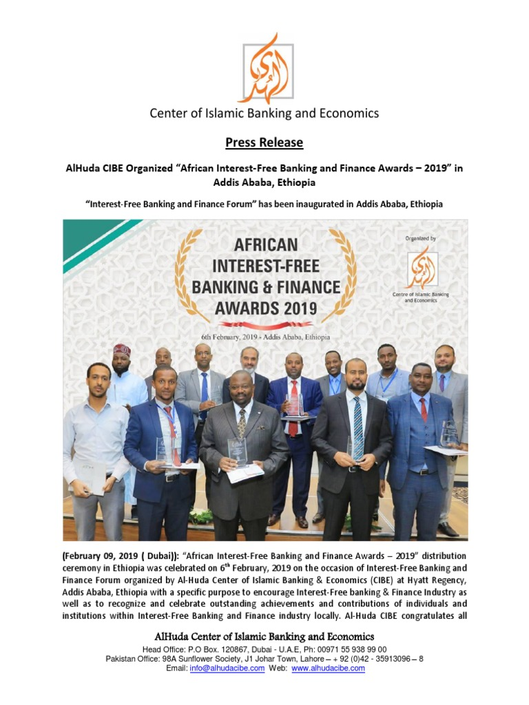 Press Release - African Interest-free Banking and Finance
