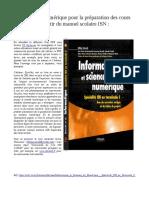 Informatique Et Sciences Du Numrique - Spcialit ISN en Terminale S