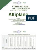 Boletín Nº 22.2019 Agrometeorológico Del 1 Al 10 de Febrero Altiplano