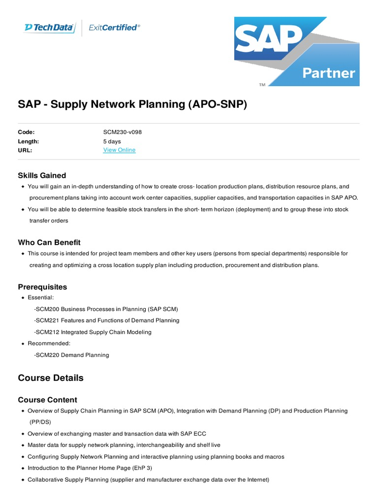 Supply Network Planning APO SNP | Supply Chain | Information