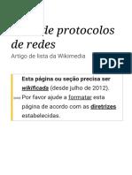 Lista de Protocolos de Redes – Wikipédia, A Enciclopédia Livre