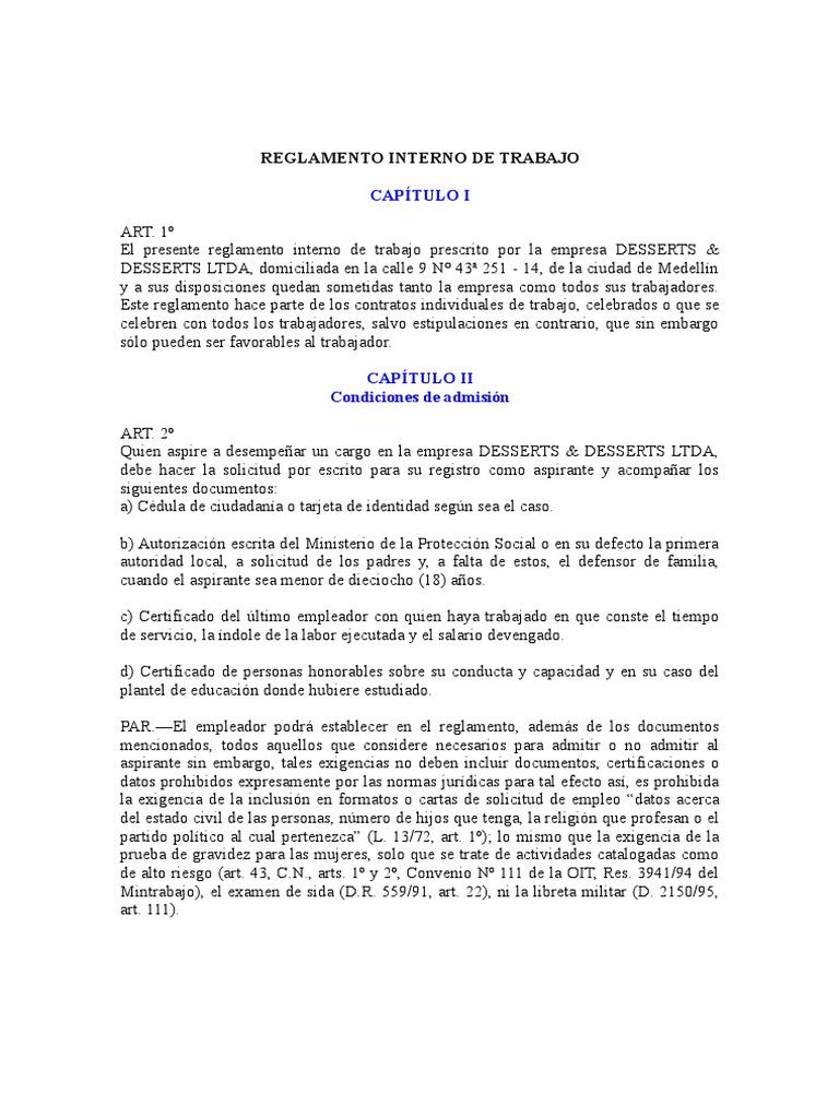 14 reglamento interno de la empresa Modelo contrato empleada de hogar interna
