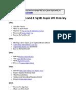 Sample Taipei Taiwan DIY Itinerary 3, 4, 5 Days