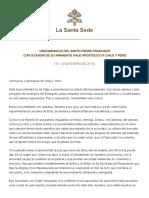 Mensaje de Su Santidad El Papa Francisco