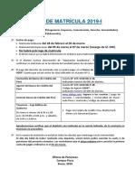 Aviso de Matricula 2019-i - Campus Piura