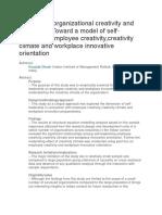 Developing Organizational Creativity and Innovation