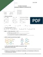 Matematica, clasa I proba 8.11.2018