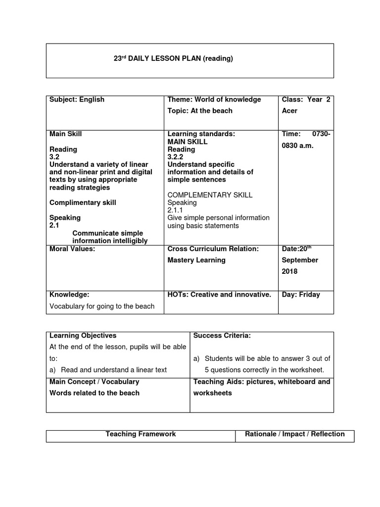 - 23th Lesson Plan(Reading) Reading Comprehension Lesson Plan