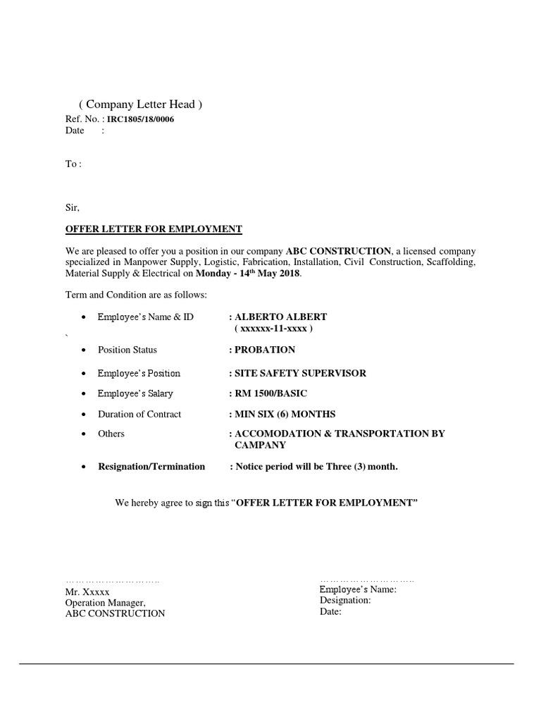 Contoh Surat Tawaran Kerja