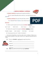 Ficha de trabalho palavras sinónimas e antónimas