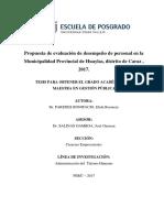 Propuesta de evaluación de desempeño de personal en la Municipalidad Provincial de Huaylas, distrito de Caraz , 2017.