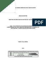 APLICACIÓN DE EVALUACIÓN DE DESEMPEÑO POR COMPETENCIAS 180°, EN EL ÁREA DE CONTRATOS DE LA GERENCIA DE EXPLORACIÓN Y PRODUCCIÓN DE EPPETROECUADOR