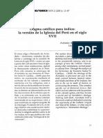 ACOSTA RODRÍGUEZ, Antonio. Dogma Católico Para Indios. La Versión de La Iglesia Del Perú en El Siglo XVII.