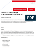 Maîtrise en Informatique - Intelligence Artificielle (M. Sc.) _ Université Laval