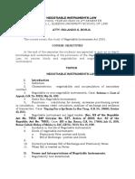 SYLLABUS Negotiable Instruments Law