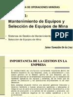 CAP. 11 MANTENIMIENTO DE EQUIPOS Y SELECCION DE EQUIPOS DE MINA.pptx