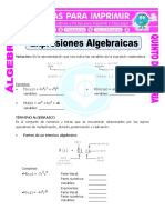 Expresiones Algebraicas Para Quinto de Primaria