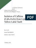 Lerona, P.G.E. et al. (2015). Isolation of caffeine (C8H10N4O2) from Lipton Yellow Label Tea.docx