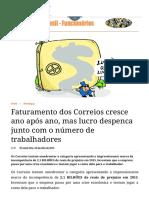 Faturamento Dos Correios Cresce Ano Após Ano, Mas Lucro Despenca Junto Com o Número de Trabalhadores _ Correios Do Brasil - Funcionários