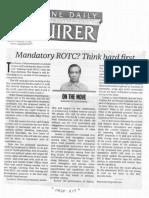 Philippine Daily Inquirer, Mandatory ROTC Think hard first.pdf