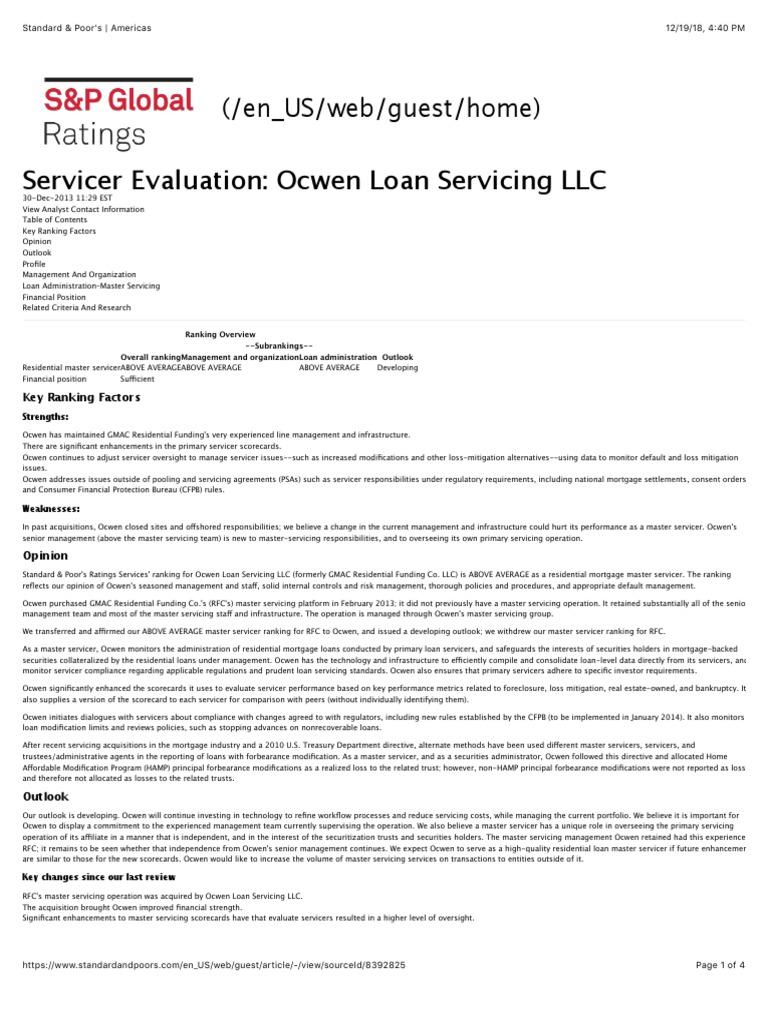 ocwen ratings ocwen standard \u0026 poor\u0027s