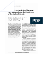 A Method for Analyzing Therapist Interventions in the Psychotherapy of Borderline Patients