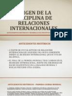 Origen de La Disciplina de Relaciones Internacionales